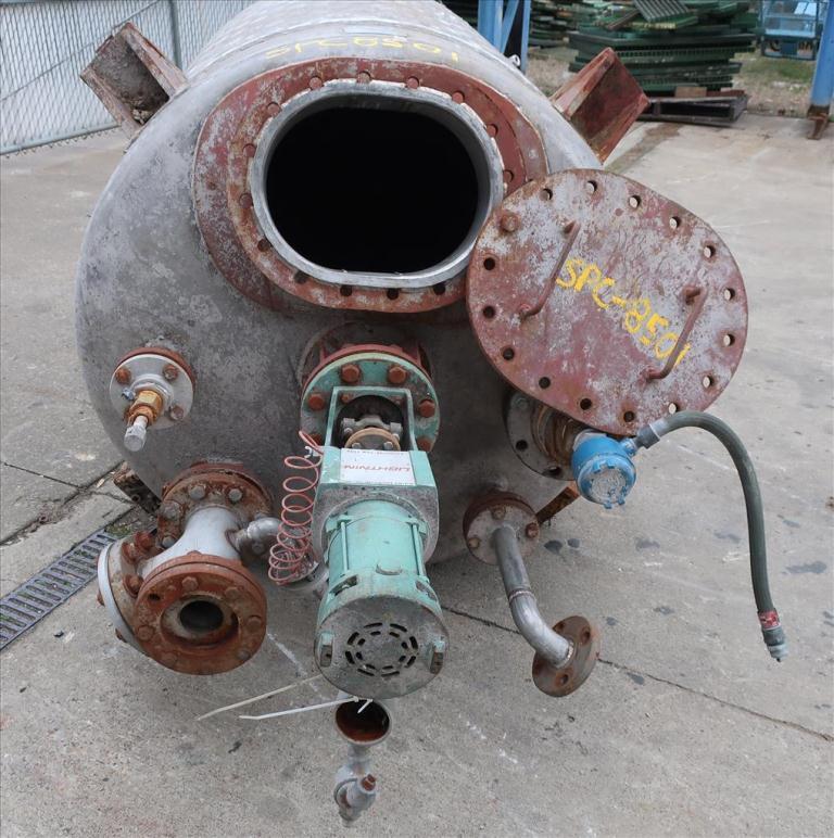 Tank 500 gallon vertical tank, Stainless Steel, dimpled jacket, 0.33 hp agitator, dish2
