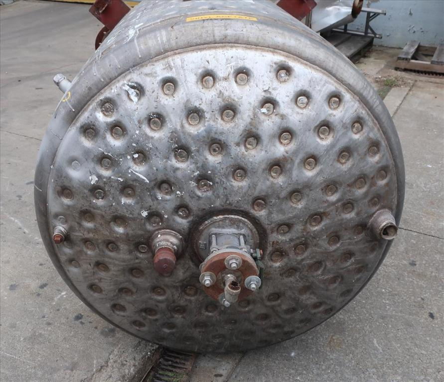 Tank 500 gallon vertical tank, Stainless Steel, dimpled jacket, 0.33 hp agitator, dish bottom5