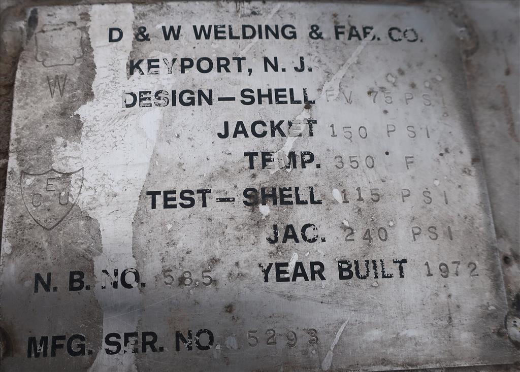 Tank 500 gallon vertical tank, Stainless Steel, dimpled jacket, 0.33 hp agitator, dish10