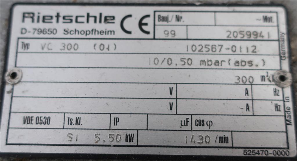 Pump 300  m3/hr flow rate Rietschie vacuum pump model VC300 10 hp5