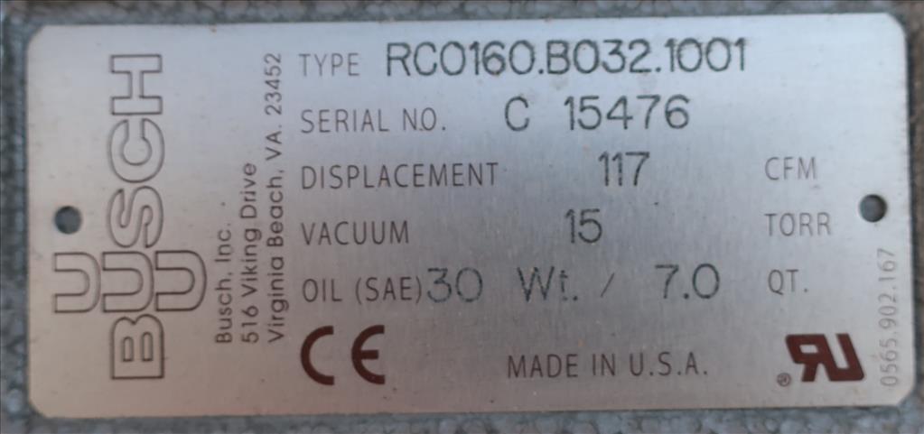 Pump 117 cfm Busch vacuum pump model RC0160 7.5 hp, CS7