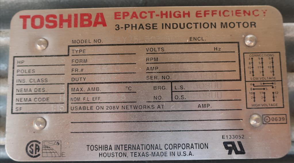 Pump 117 cfm Busch vacuum pump model RC0160 7.5 hp, CS8