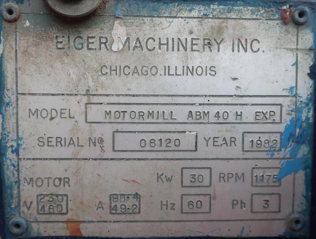 Mill Eiger Machinery horizontal media mill model ABM 40H EXP, 40 L, CS7