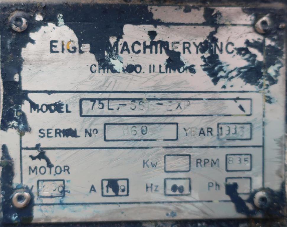 Mill Eiger Machinery horizontal media mill model 75L SSE EXP, 75 L, CS6