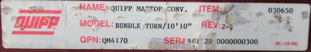 Conveyor Quipp belt conveyor model Mat Top Conv. Bundle Turn, CS, 18 x 1305