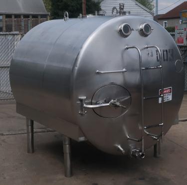 1,000 gallon Mojonnier Brothers horizontal tank, stainless steel, sanitary