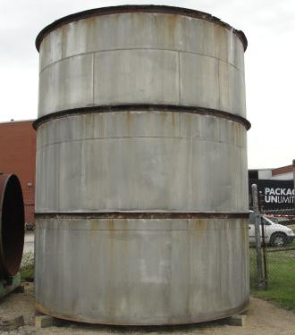 Tank 10875 gallon vertical tank, 316 SS, flat