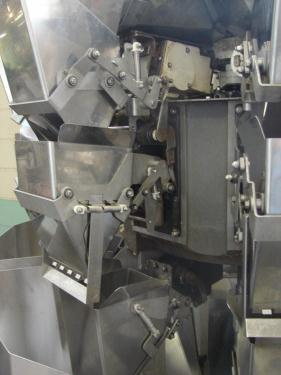 Scale 8 bucket Ishida multihead combination weigher model CCW-Z-208B-S/30-PB, Stainless Steel, 14 g to 454 g weigher capacity
