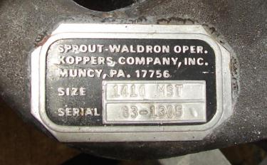Valve 10 x 10 304 SS Sprout Waldron rotary airlock feeder model 1410 MST