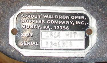 Valve 14 x 14 304 SS Sprout Waldron rotary airlock feeder model 1614 MST