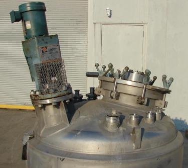 Reactor 200 gallon Mueller chemical reactor, 50 psi internal, 150 psi jacket, 1 hp agitator