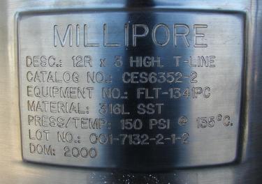 Filtration Equipment 230 sqft Millipore cartridge filter model 12R x 3 high T-line, 316 SS