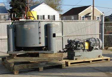 Centrifuge 48 diameter Tolhurst solid basket centrifuge model Batch-O-Matic, 1080 rpm, center scrape unload, Stainless Steel Contact Parts
