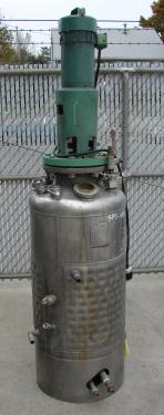 Reactor 50 gallon HC Hicks and Sons chemical reactor, 50 psi internal, 125 psi jacket, 3/4 hp agitator