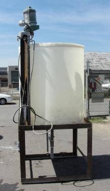 Tank 300 gallon vertical tank, Polyethylene, 3/4 hp agitator, dish