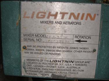 Agitator .3 hp electric Lightnin clamp-on agitator, model XJ-30