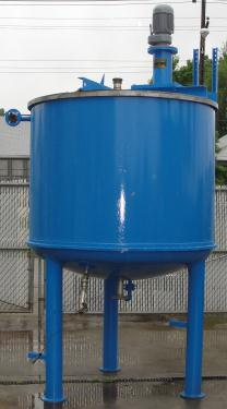 Tank 600 gallon vertical tank, Stainless Steel Contact Parts, 21.7 psi @ 248° F jacket, 1.5 hp agitator, dish