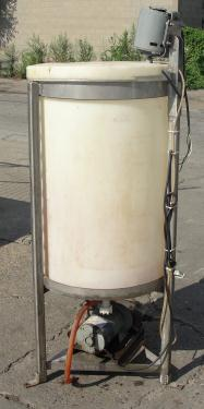 Tank 50 gallon vertical tank, Polyethylene, 115 vac 1 phase agitator, flat