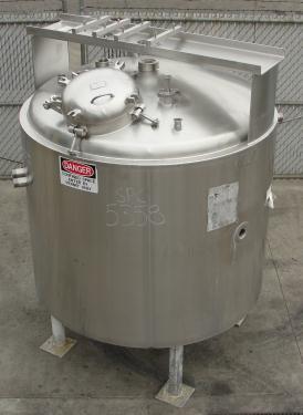 Kettle 400 gallon Groen hemispherical bottom kettle, scrape agitator, 100 psi jacket rating, 316 SS