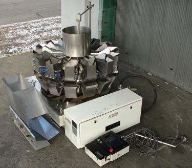 Scale 14 bucket Yamato multihead weigher model ADW-323-RB, Stainless Steel Contact Parts, 8 to 1000 grams weigher capacity