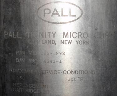 Filtration Equipment 35 sq.ft. Pall Corp cartridge filter model 4HD 886-1898, 316 SS
