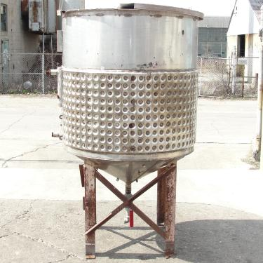 Tank 250 gallon vertical tank, Stainless Steel, half dimple jacket, conical