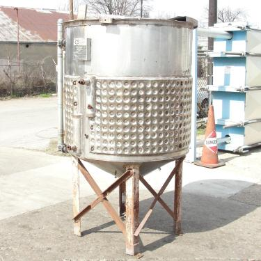 Tank 250 gallon vertical tank, Stainless Steel, half dimple jacket, conical bottom