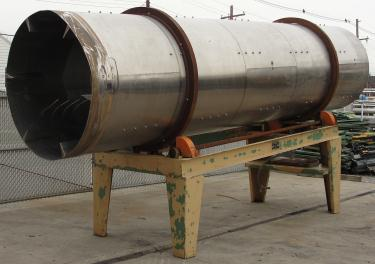 Rotary Cooler 5 dia x 20 long Griffin Industries direct air swept rotary cooler model 5X20, Stainless Steel