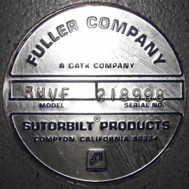 Blower 59 cfm, positive displacement blower Fuller Co, 3 hp