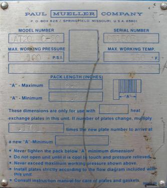 Heat Exchanger 111 sq.ft. Mueller Accu-Therm plate heat exchanger, Stainless Steel