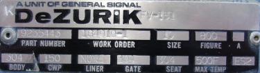 Valve 10 dia Dezurik gate valve, hand wheel, 304 SS