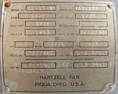 Blower 3810 cfm centrifugal fan Hartzell Fan Inc model 31-18-143, 1 hp, NA