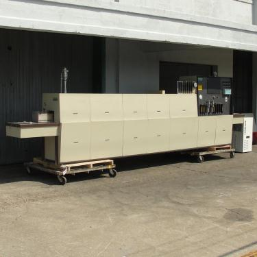 Calciner Lindberg model 816 continuous furnace, up to 2012 deg. F, 6w x 3h work opening, 21 overall length