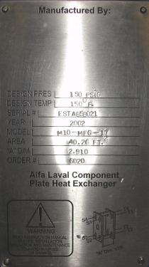 Heat Exchanger 40.26 sq.ft. Alfa Laval plate heat exchanger, Stainless Steel Contact Parts