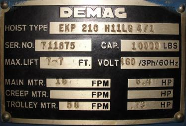 Material Handling Equipment chain hoist, 10000 lbs. Demag model EKP 210 H11LG 4/1, 5 ton capacity