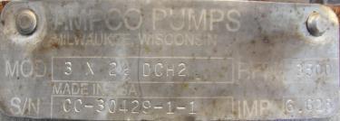 Pump 3x2.5x6.5 AMPCO centrifugal pump, 20 hp, 316 SS