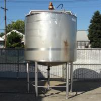 Tank 1000 gallon vertical tank, Stainless Steel, side scrape and paddle agitator, dish Bottom