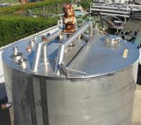 Tank 1000 gallon vertical tank, Stainless Steel, side scrape and paddle agitator, dish bottom