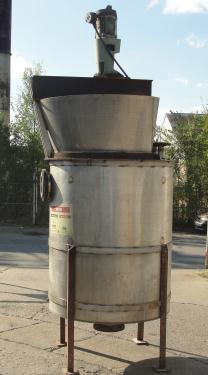 Tank 300 gallon vertical tank, Stainless Steel, 1 hp agitator, conical