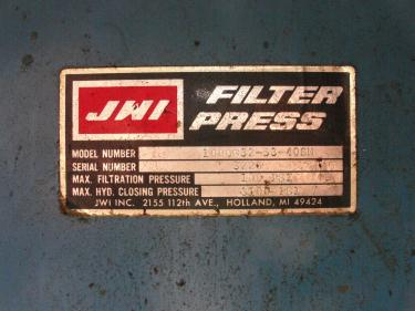 Filtration Equipment 42.5 cu ft JWI recessed plate filter press model 1000G-32-53-40SN, poly