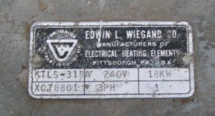 Miscellaneous Equipment Edwin Wiegand Co. model KTLS-318 Electric Immersion heater, Stainless Steel
