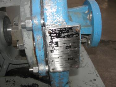 Pump 1.5x1x8 Durco centrifugal pump, 5 hp, Stainless Steel