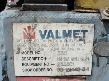 Blower centrifugal fan Valmet size HB-131448-3-1 model 330, CS