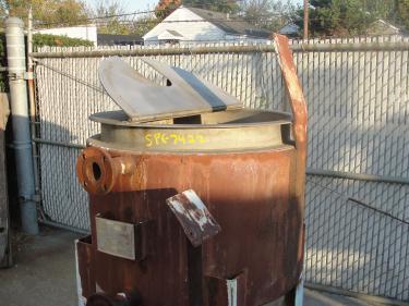 Tank 125 gallon vertical tank, Stainless Steel, 15 PSI jacket, bottom