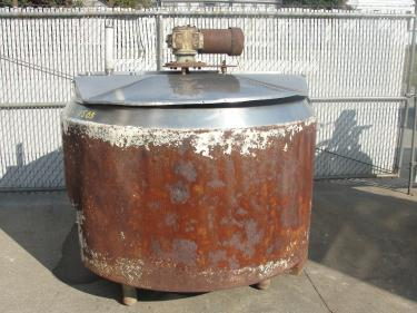 Tank 350 gallon vertical tank, Stainless Steel Contact Parts, atmospheric jacket