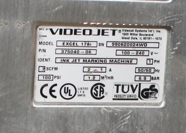 Coder Videojet ink-jet coder model Excel 178i, No cylinder cover on print heads, 916 ft/min