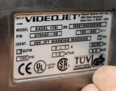 Coder Videojet ink-jet coder model Excel 178i, 1 print heads, 916 ft/min (line speed)