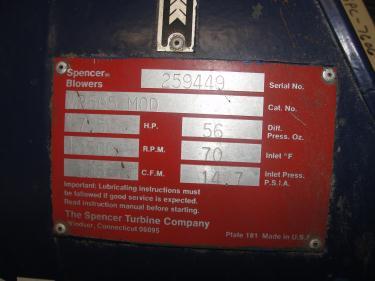 Blower 135 cfm multistage centrifugal blower, Spencer, 7.5 hp
