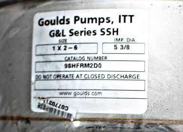 Pump 2x1x5 3/8 Goulds centrifugal pump, 316 SS