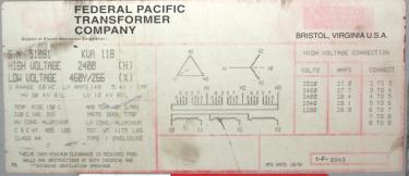 Transformers and Switchgear 118 kva Federal Pacific Transformer Company dry transformer, 2400 high voltage, 460 Y/ 266 low voltage, 3 phase